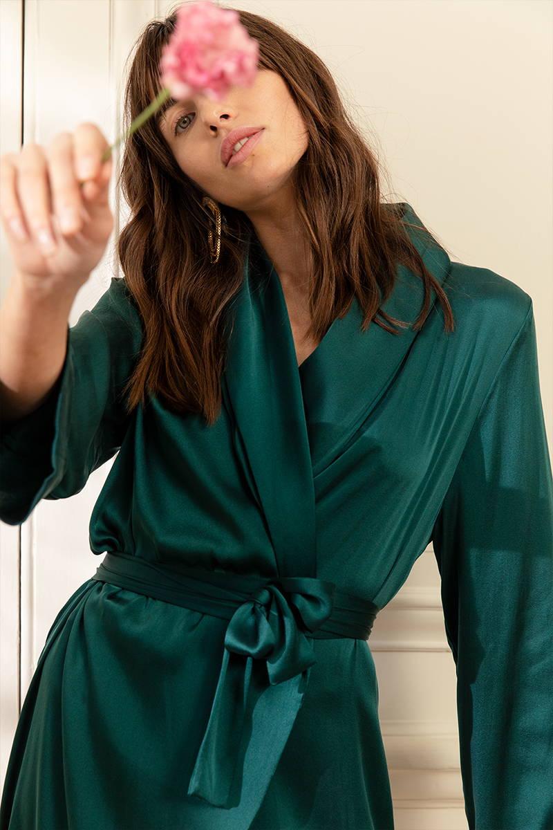 Luxurious Emerald Silk Dress Gown by YOLKE