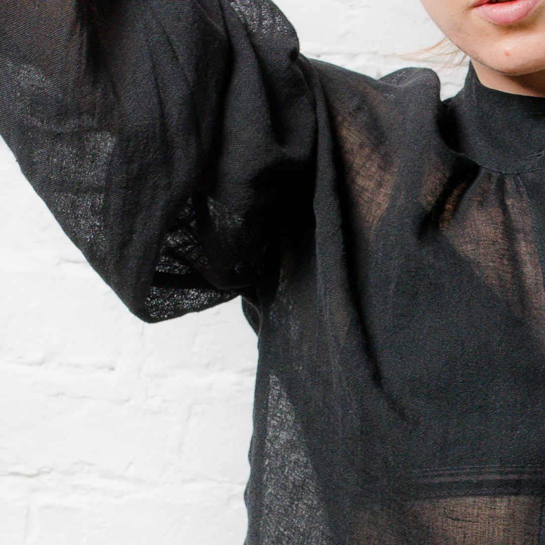 Northern Archive Pillow Blouse in Black Linen