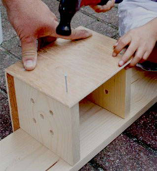 simple wooden birdbox homemade