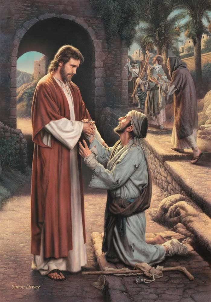 LDS art painting of Jesus greeting the grateful leper.