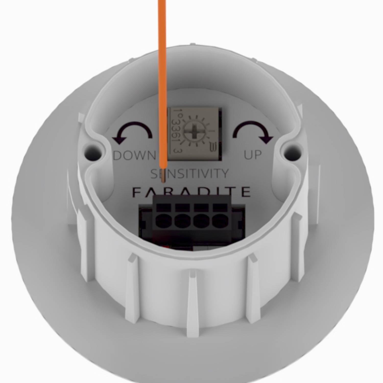 White Faradite IP67 Motion Sensor 360 dry contact push fit terminals