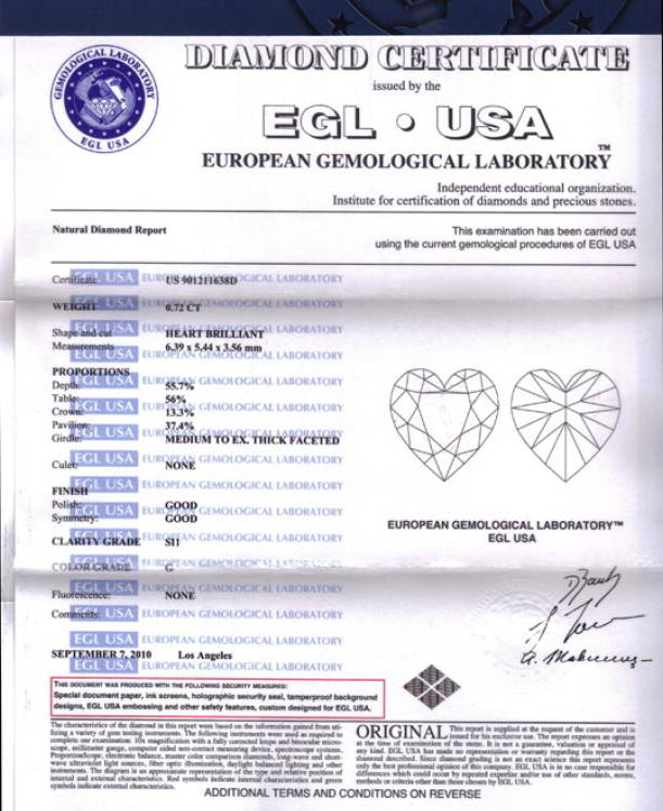 The European Gemological Laboratory United States of America (EGL USA)Diamond certificate yves lemay jewelry