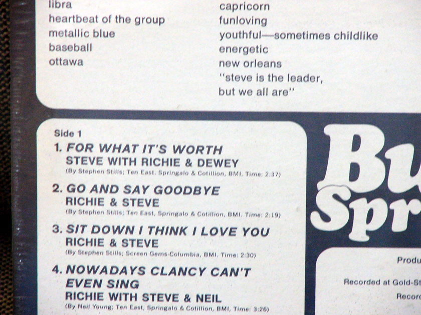 Buffalo Springfield - First LP Sealed 1966 early press, perfect, reduced