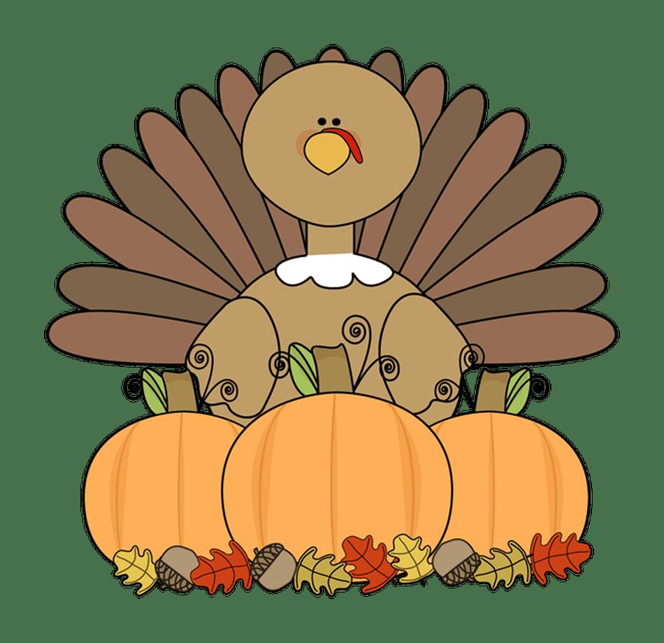 An animated turkey sits behind three orange pumpkins