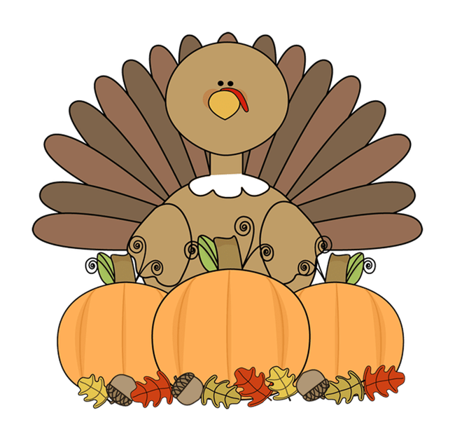 An animated turkey sits behind three orange pumpkins