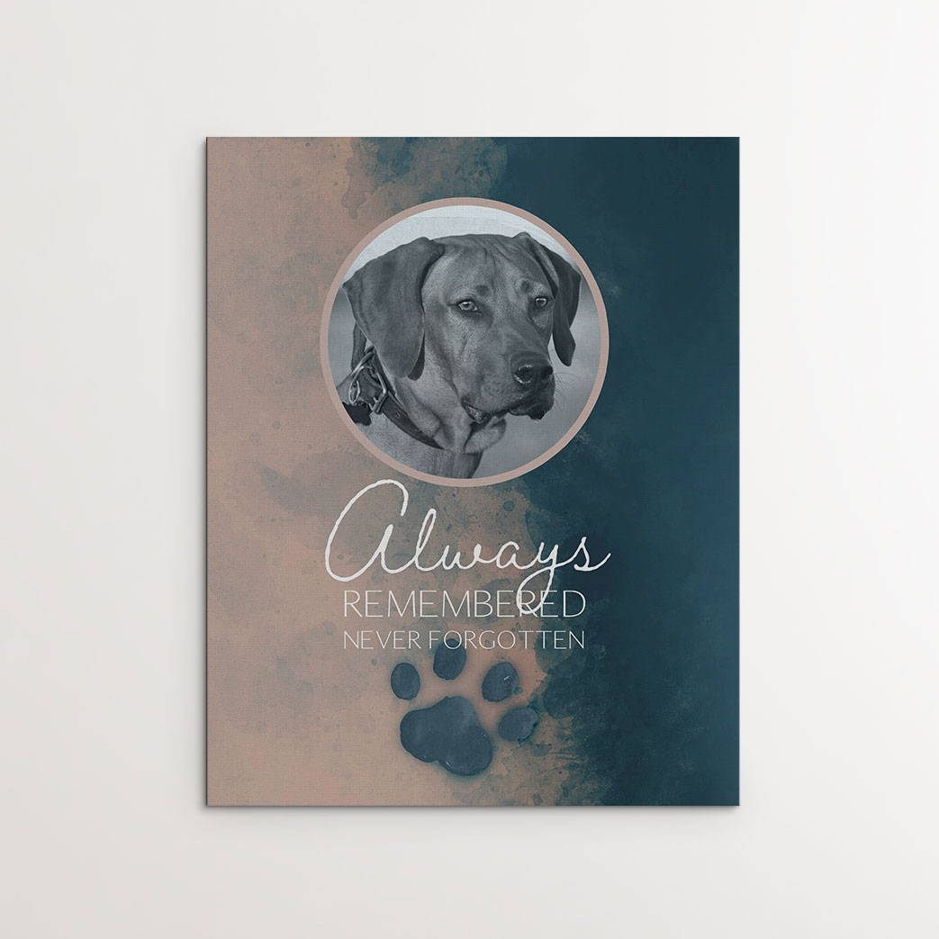 """""""Always Remembered, Never Forgotten"""", Personalized Dog Memorial Canvas Print"""