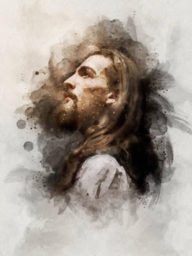 Watercolor portrait of Jesus Christ.