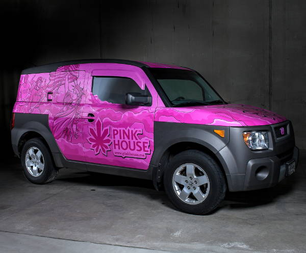 Vinyl Vehicle Wraps - Pink House Honda Wrap