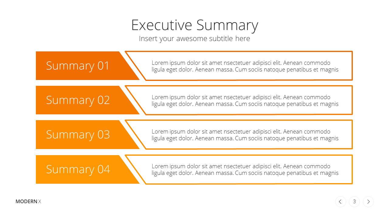 Modern X Presentation Template Business Plan Executive Summary
