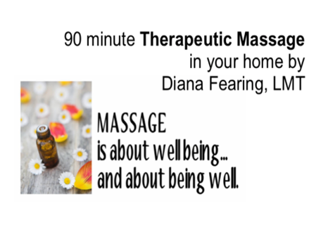 Ninety Minute Therapeutic Massage at your home