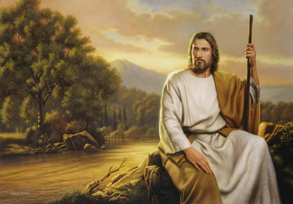 Peaceful panoramic portrait of Jesus. He is sitting next to a calm river, holding a staff.
