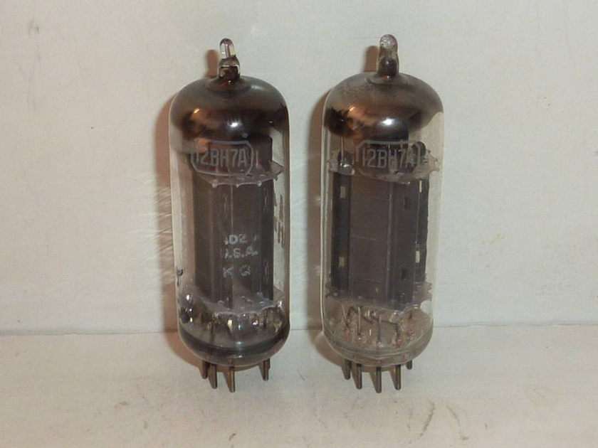 RCA 12BH7A Black Plate  D Getter Tubes Matched Pair