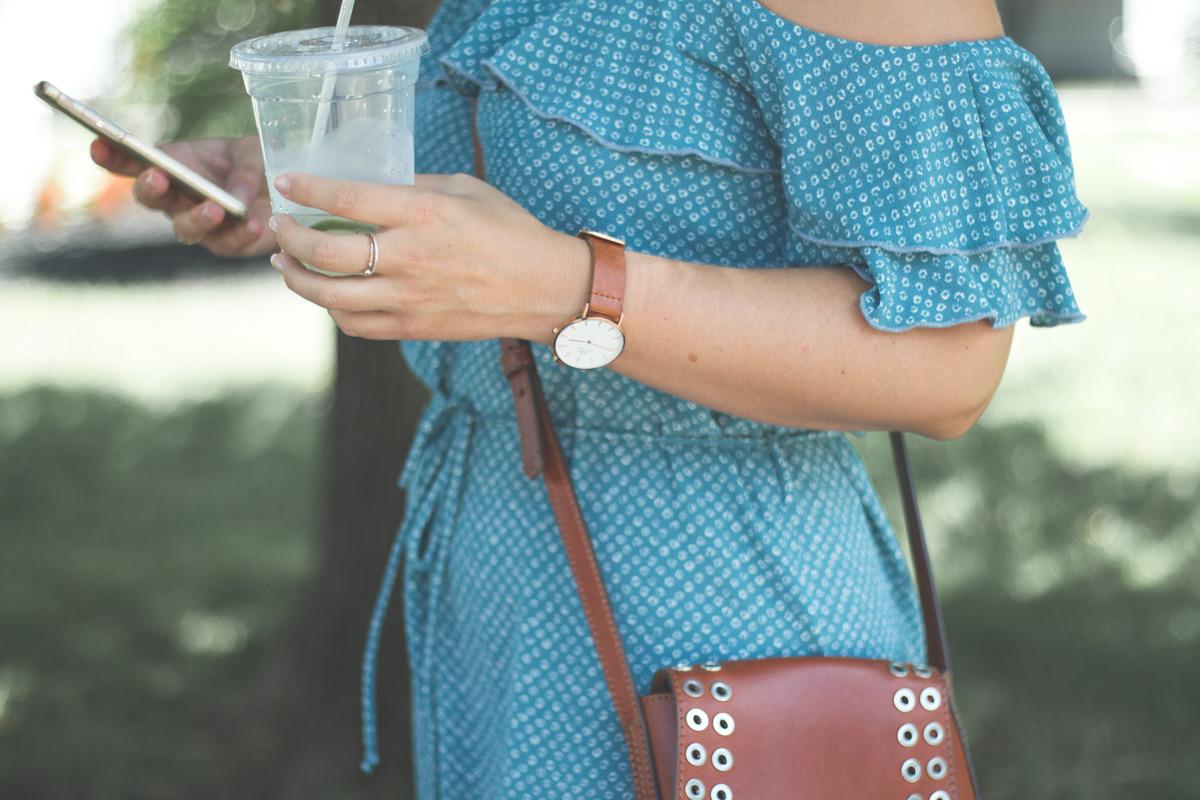 Primitive Beginnings womens summer apparel dresses travel blue off-shoulder dress