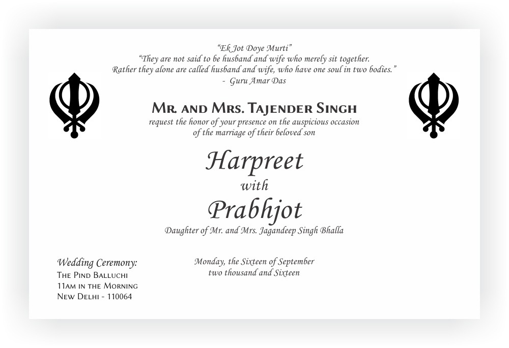 Sikh Wedding Invitation Wordings CHOCOCRAFT