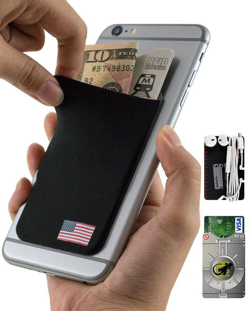 Phone wallet by Gecko Travel Tech, adhesive card holder sleeve in USA Flag design, universal fit to any cell phone, carry credit cards and cash in this stretchy Lycra pocket.