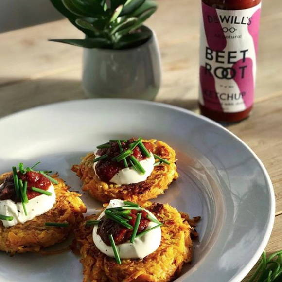 Dr Will's Sweet Potato Rostis with Beetroot Ketchup