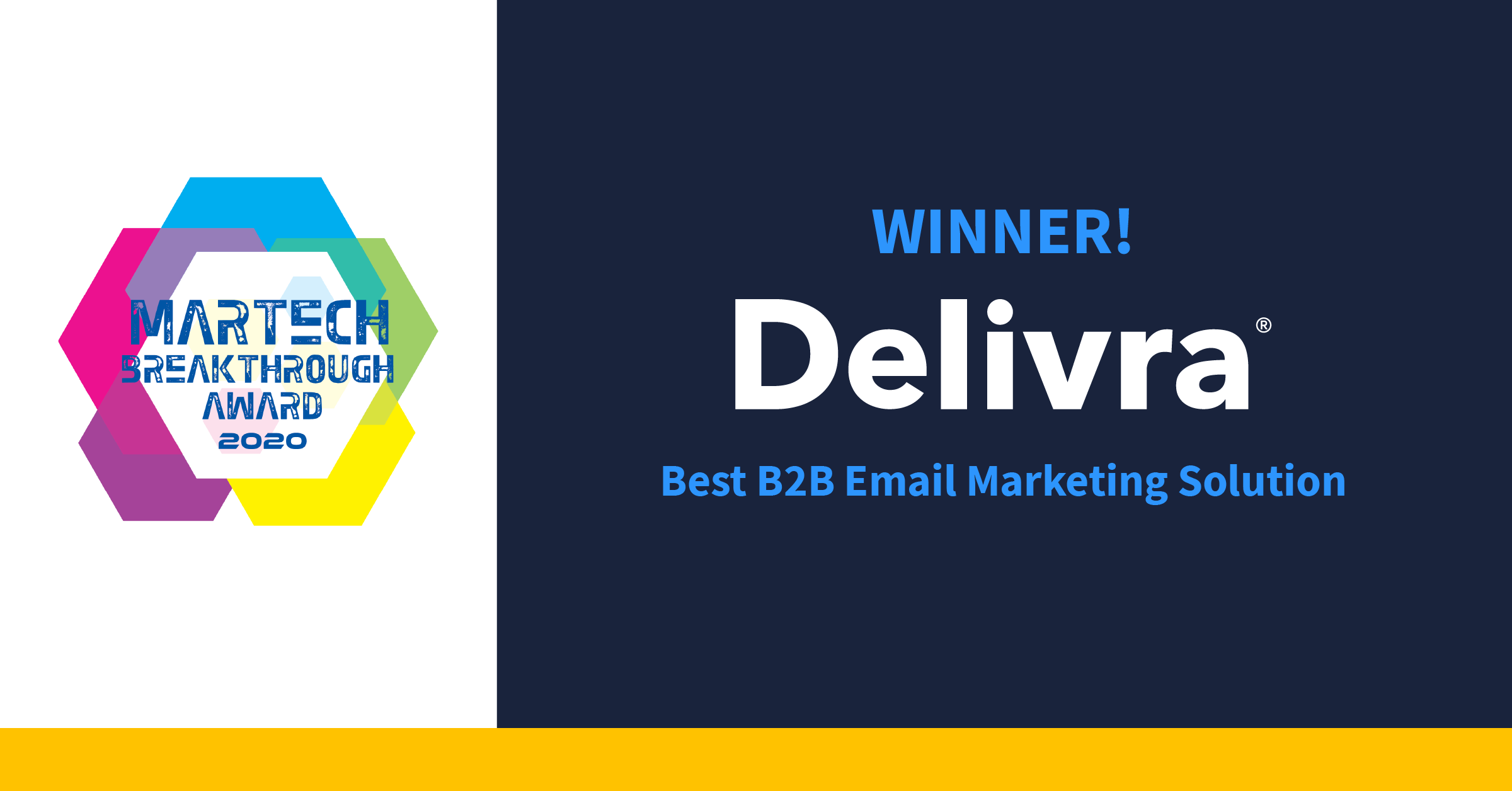 "Text that reads ""Winner! Delivra Best B2B Email Marketing Solution"""
