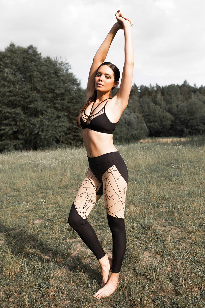 Stylish designer tights are suitable for yoga, exercise or even fashion events