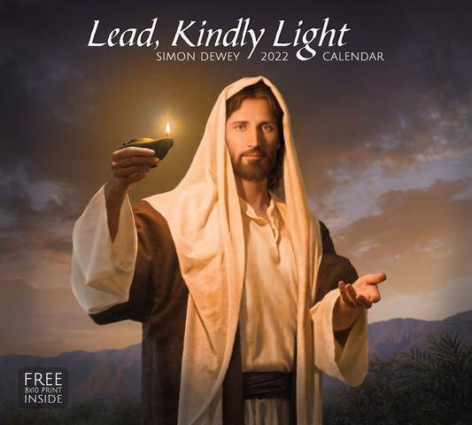 2022 Calendar cover feautring a painting of Jesus holding a glowing lamp.