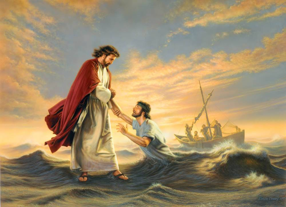 Painting of Christ pulling Peter out of the water.