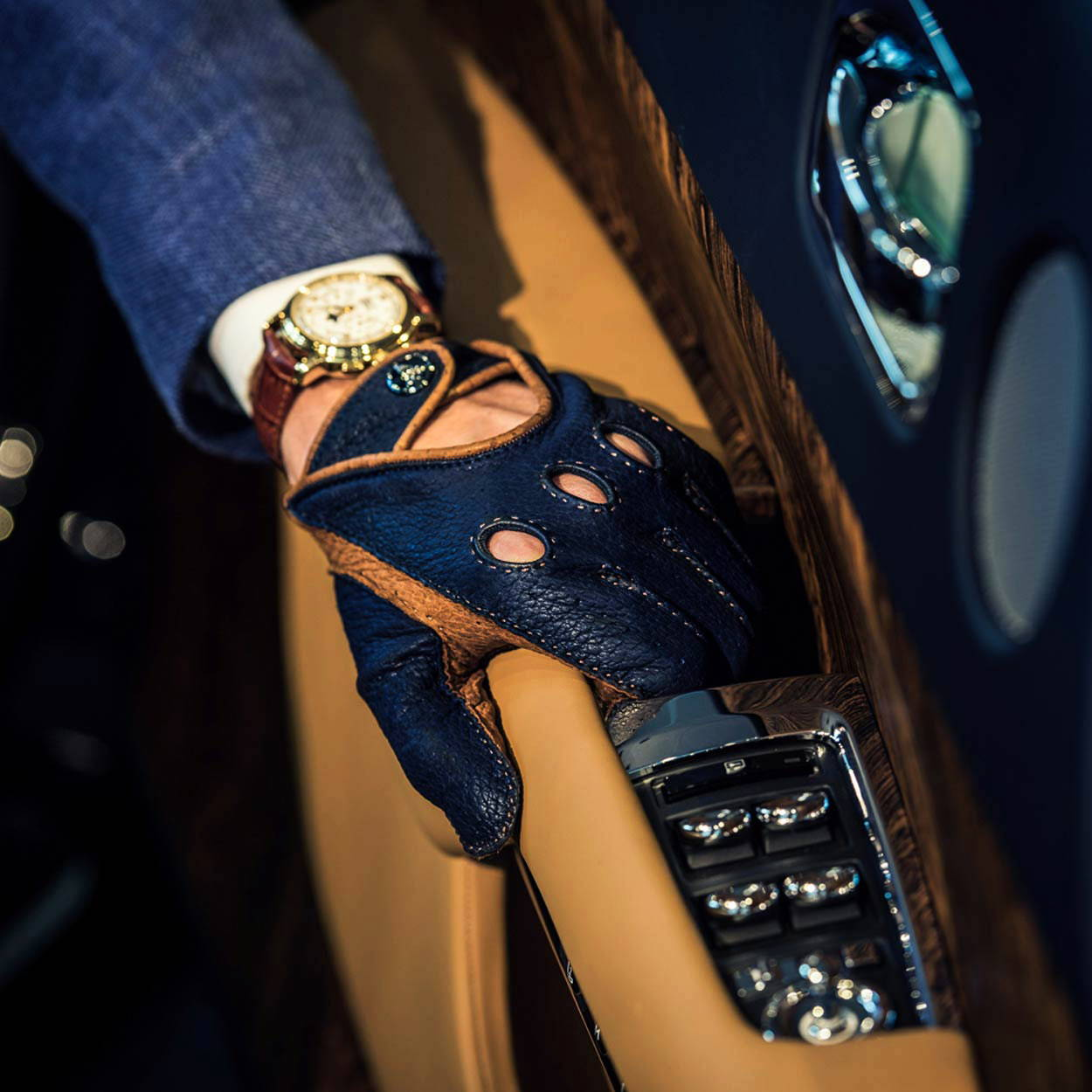 Blue brown driving gloves