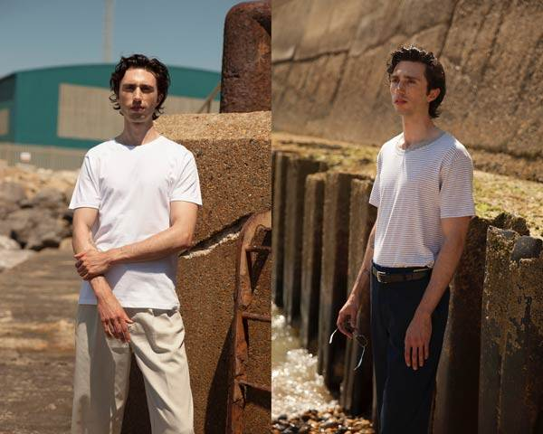 Man wearing plain white t-shirt with light chinos and man wearing organic cotton striped t-shirt with navy trousers, both from sustainable menswear brand Goose Studios