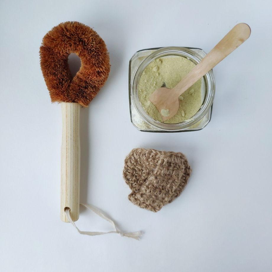 Круглая мочалка из джута с ручкой  для мытья посуды