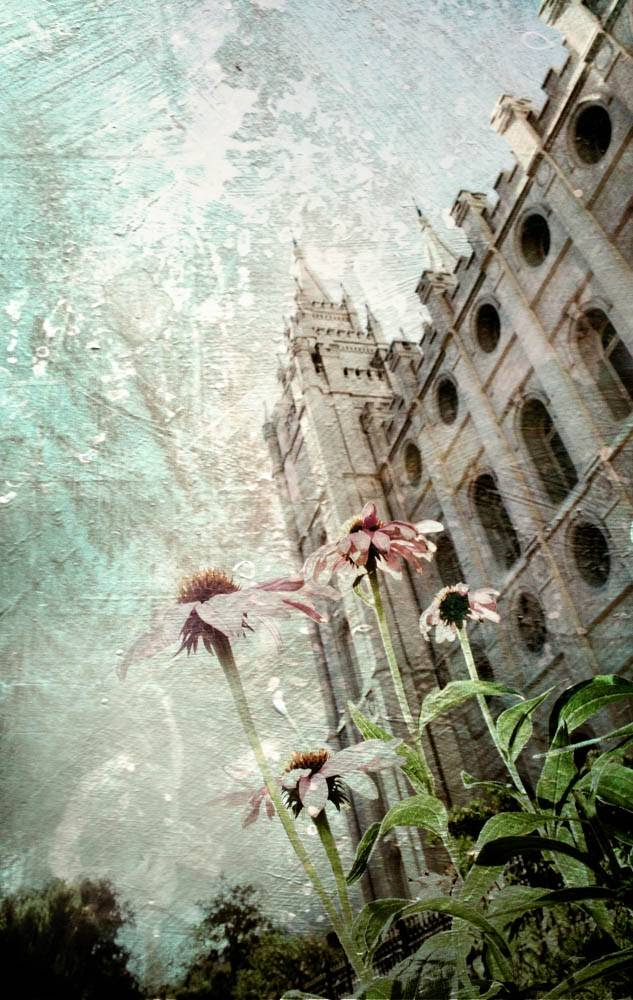 An angled picture of the Salt Lake Temple with a textured overlay. Spring flowers bloom at the foot of the temple.