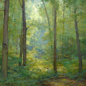 Painting of the sacred grove where Joseph Smith recieved the First Vision.
