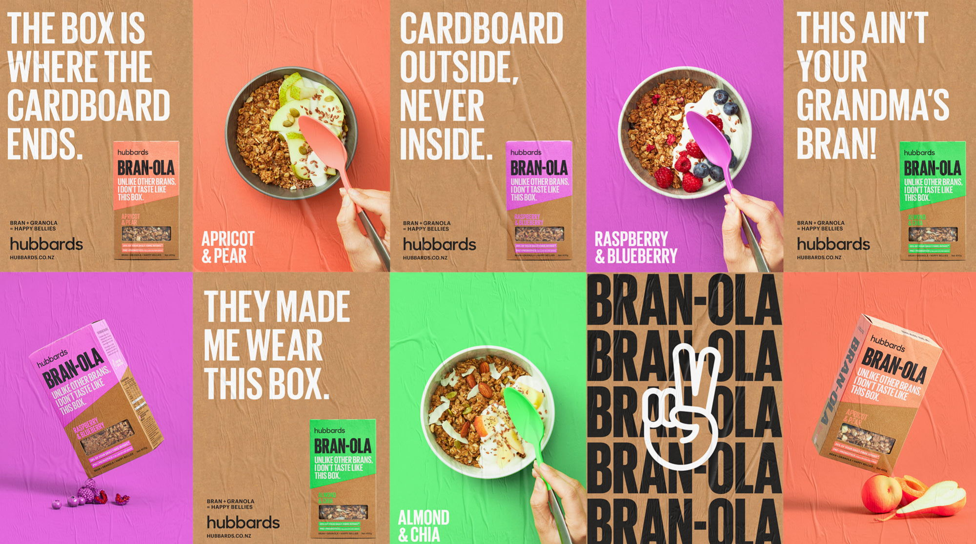Onfire Design Uses Bolds Colors, Type And Sassy Copy To Make Bran-ola Stand Out