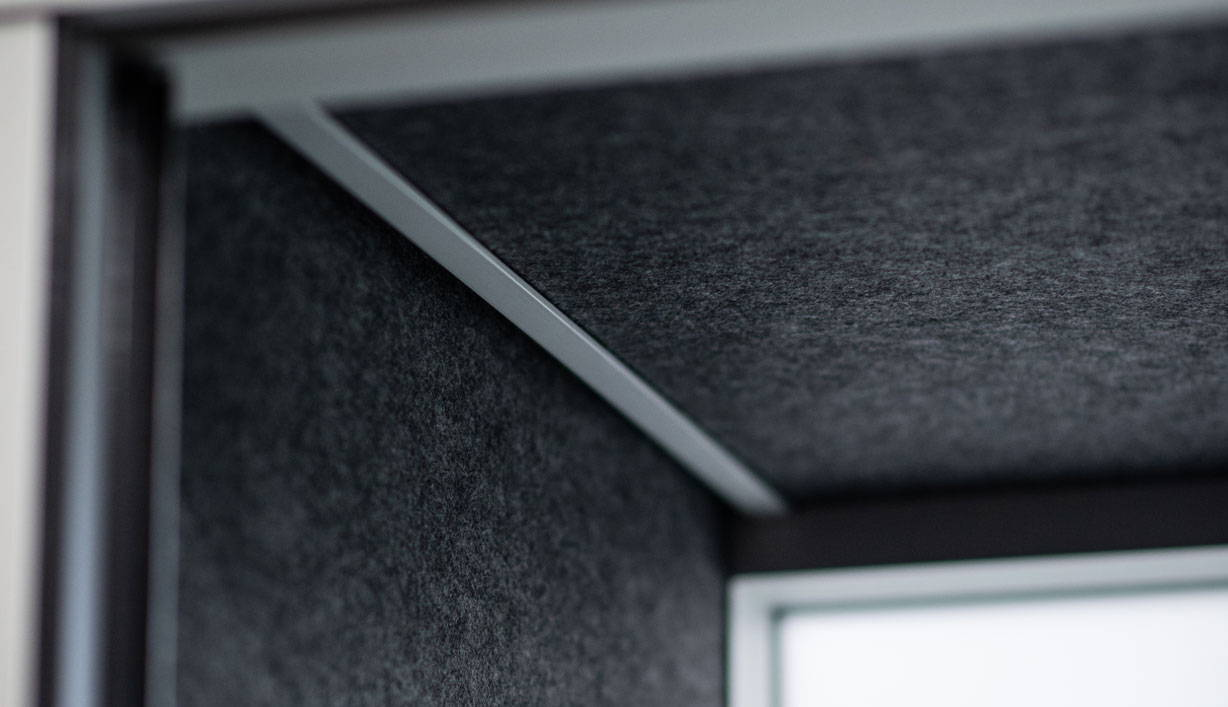 Corner detailing of SnapCab Meet 4 meeting pod with PET interior panels