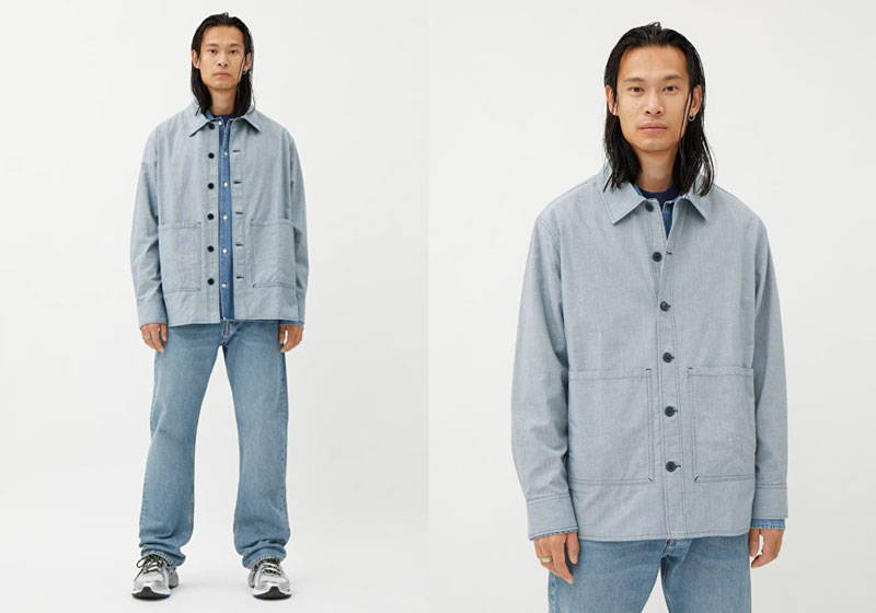 Man wearing light blue twill men's organic cotton overshirt with light blue shirt and light blue organic cotton denim jeans