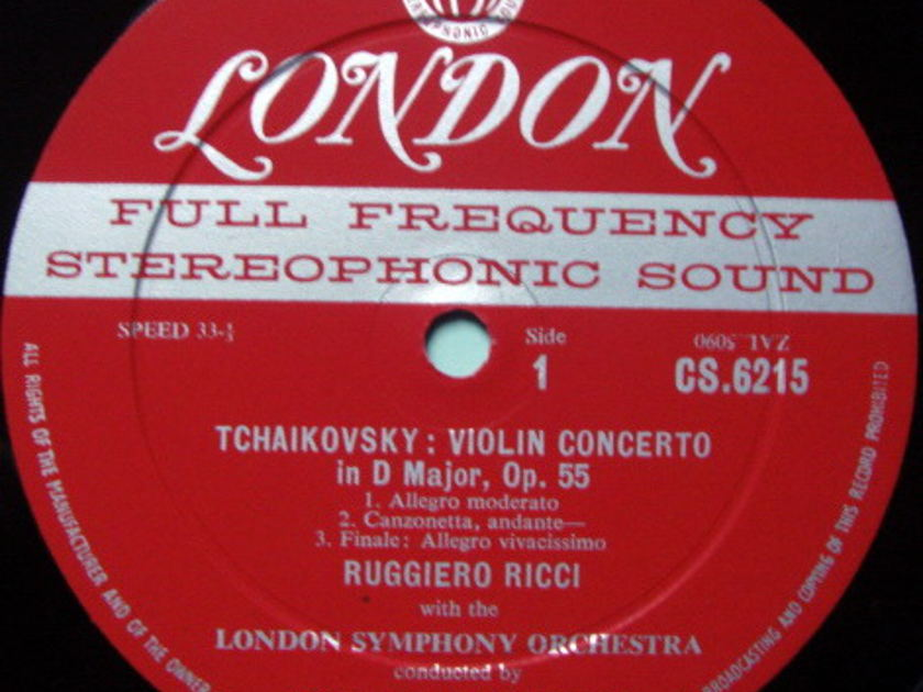 ★1st Press★ LONDON-DECCA FFSS-WB-BB / RUGGIERO RICCI, - Tchaikovsky-Dvorak Violin Concertos, NM-, Promo Copy!