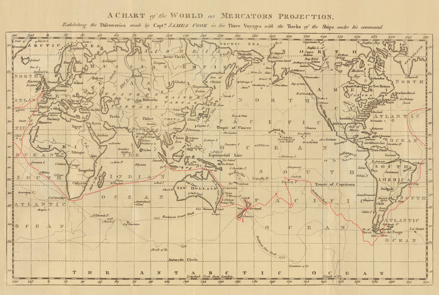 Historical Map of Cook's Voyages