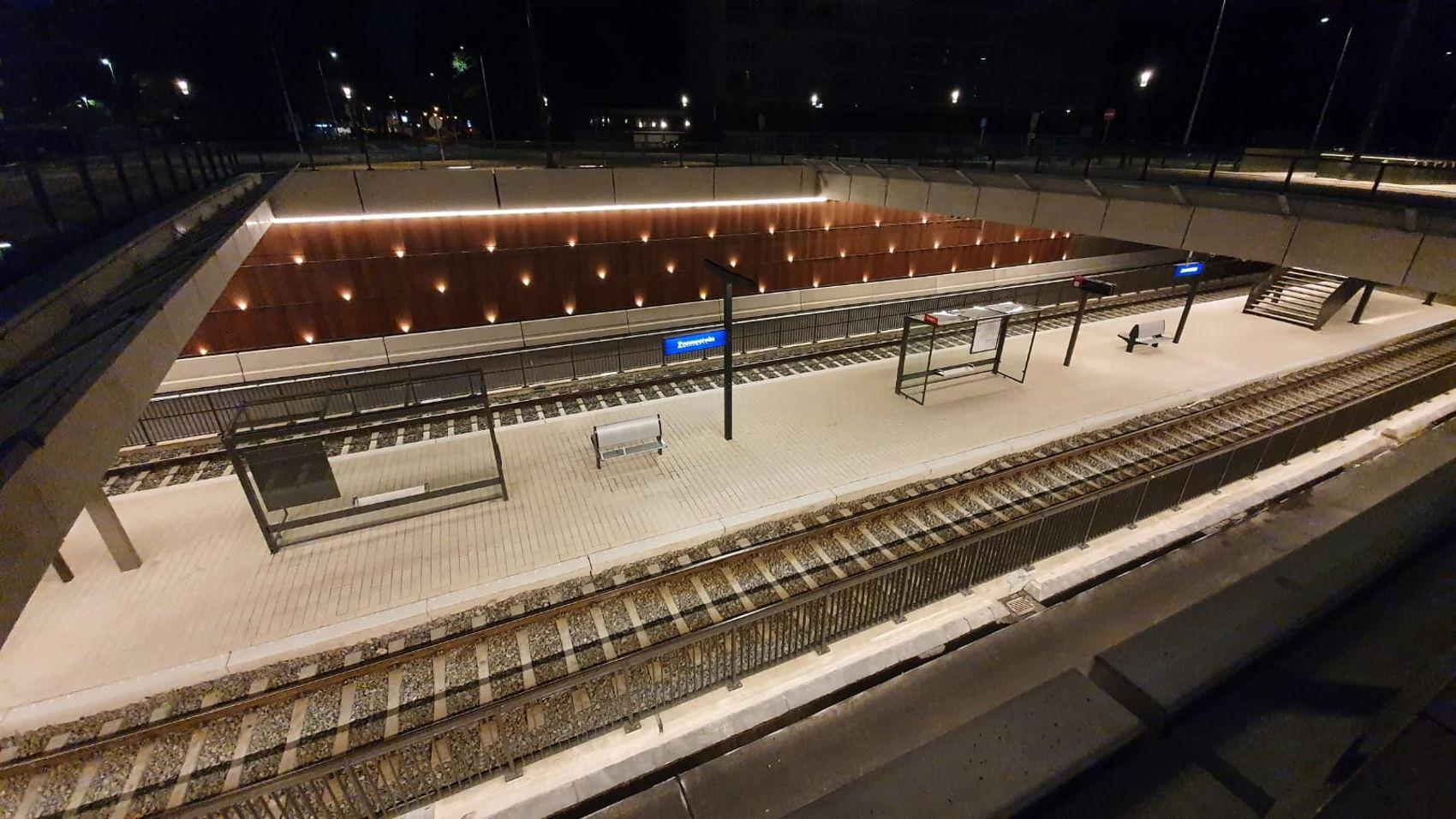 Een kijkje op de nieuwe halte Zonnestein van bovenaf.