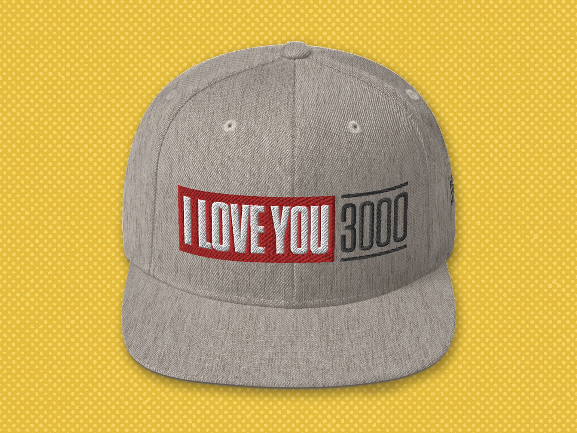 """I Love You 3000"" heather grey snapback hat"