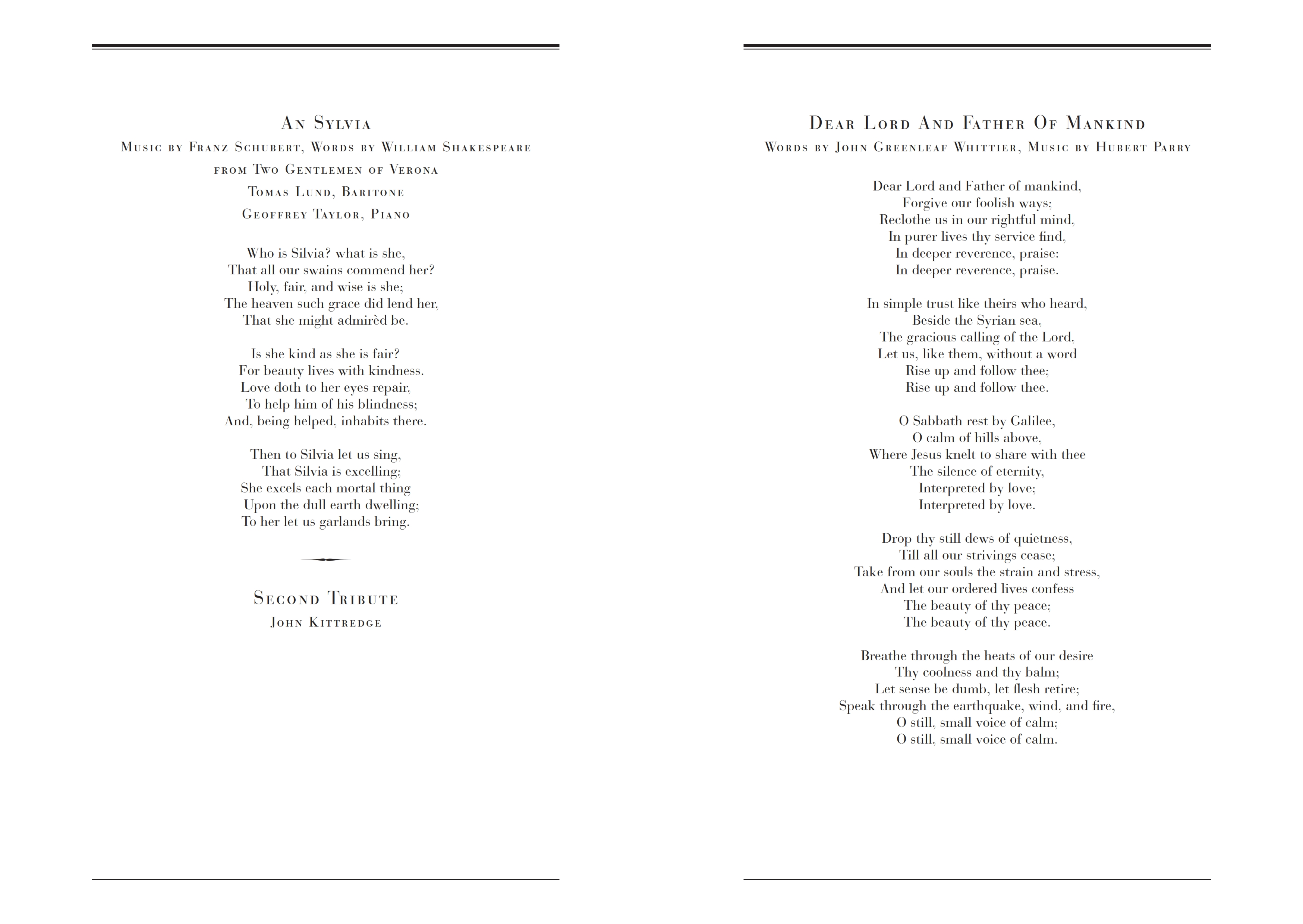 Funeral stationery - The Order of Service