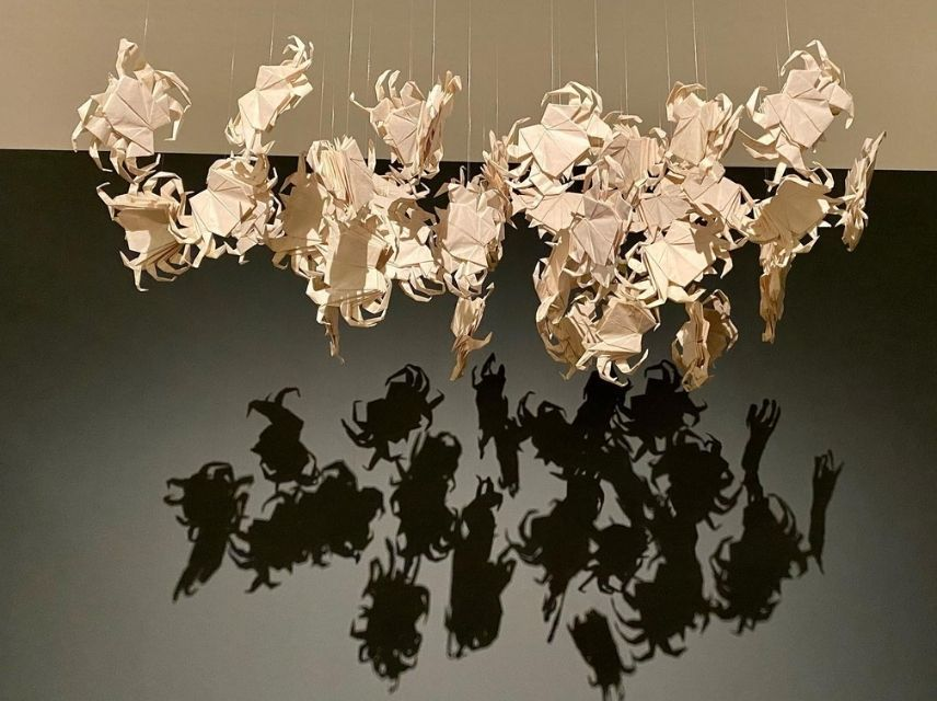 Carlos Runcie Tanaka, Peru, b. 1958, Cloud/Nube (The Journey/El Viaje; One/Uno), 2013, Video installation (The Journey 4:13 minutes; One 7:26 minutes) and 36 origami crabs, Courtesy of the artist