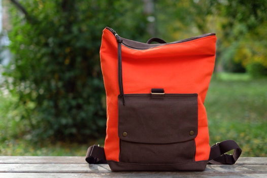 Рюкзак из рыжего и темно-коричневого канваса