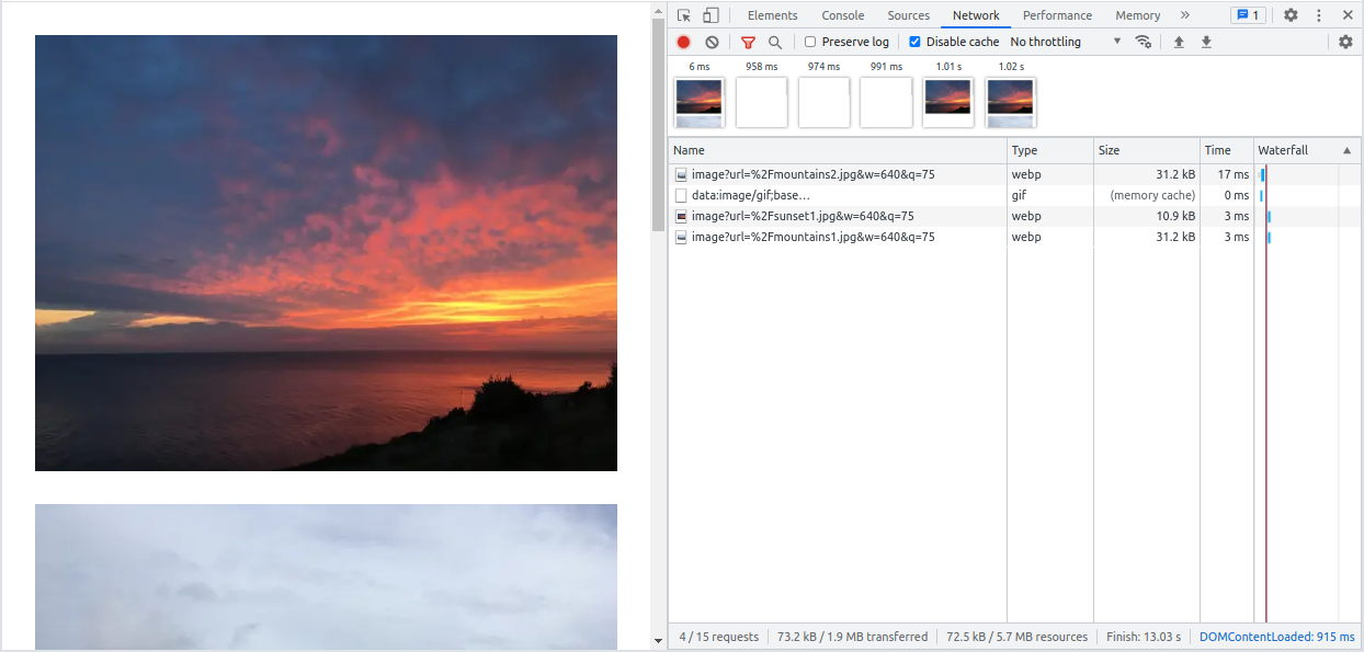 Image preload with Next.js in Chrome Dev Tools