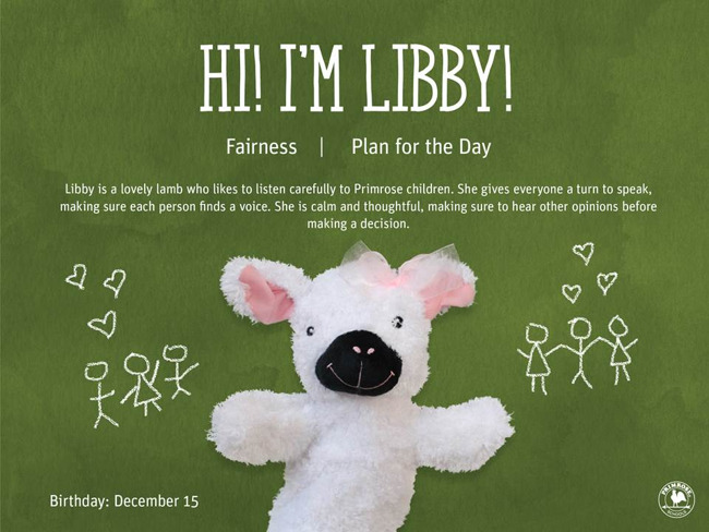 Libby the Lamb, December 2019, Primrose Friend of the Month