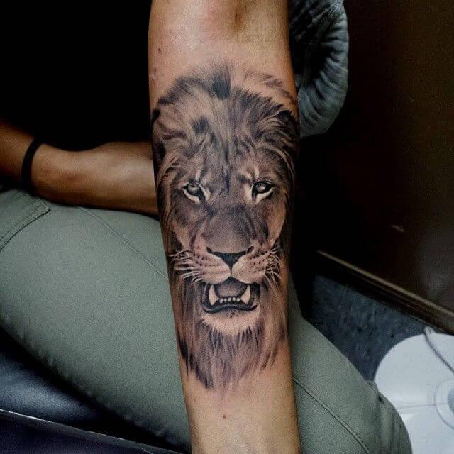 Tatouage Tete De Lion Avant Bras