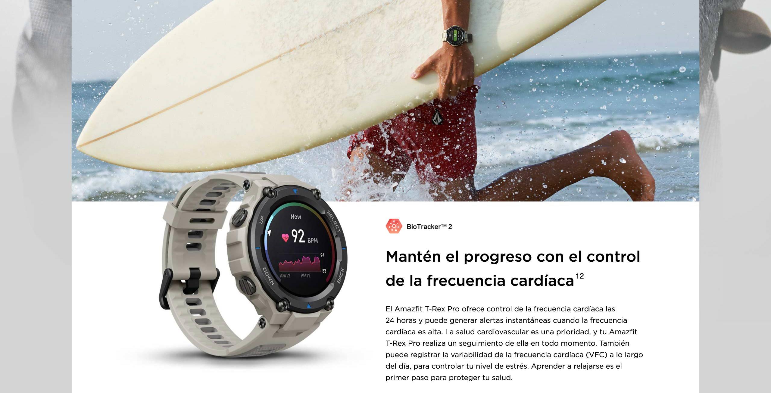 Amazfit T-Rex Pro - Mantén el progreso con el control de la frecuencia cardíaca