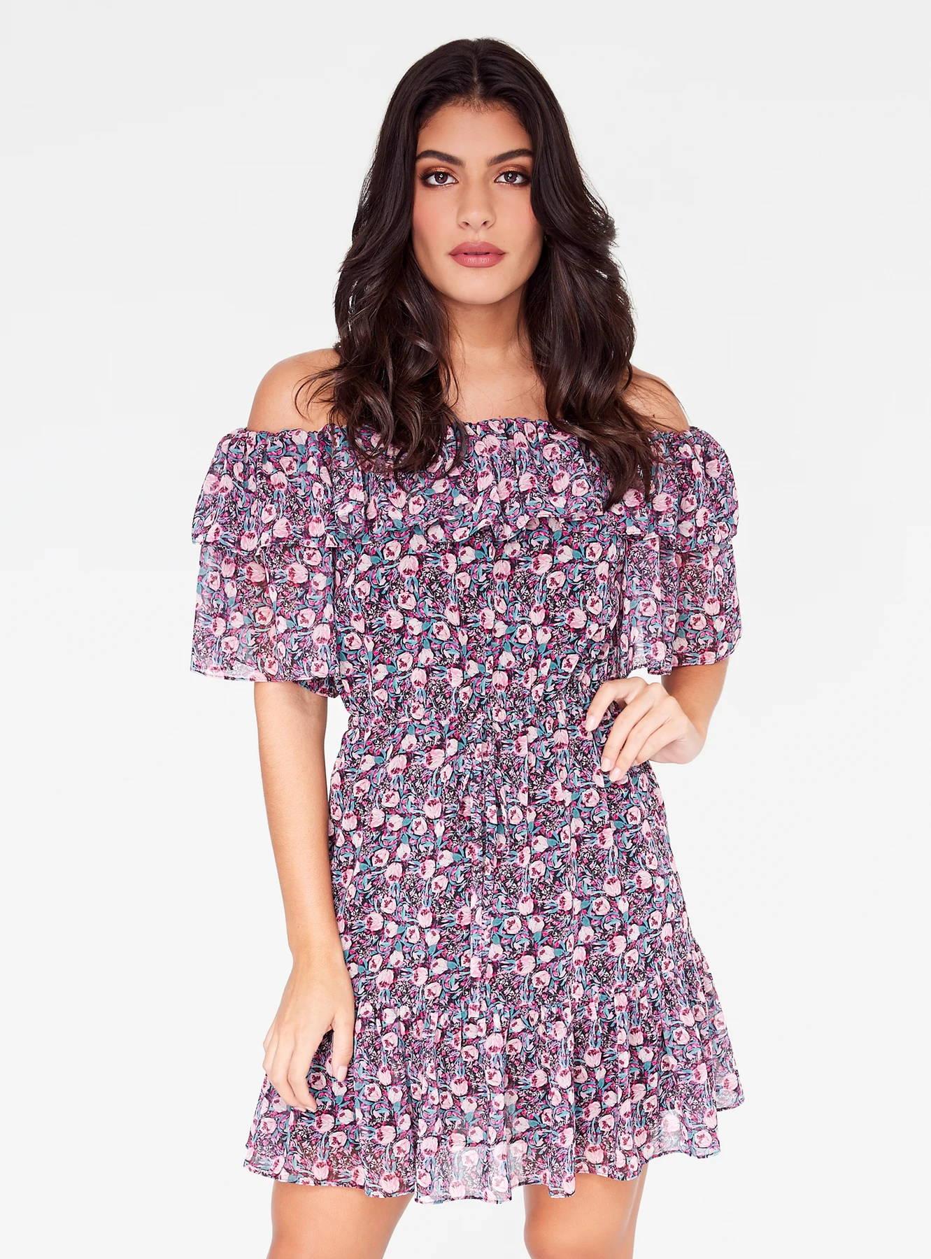 Pink Floral Off-the-Shoulder Ruffle Dress