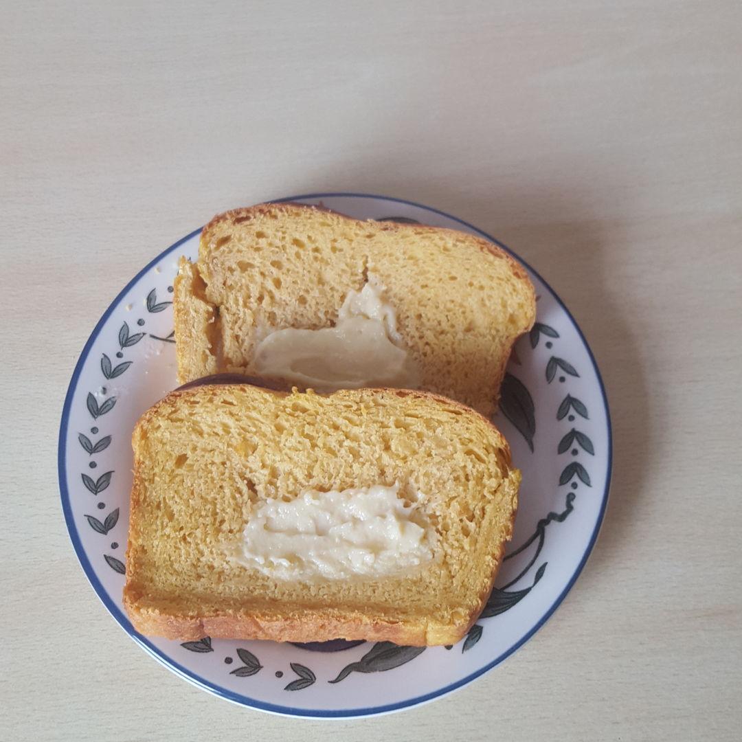 Slice of sweet potato bread.