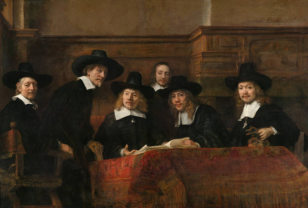 The Syndics of the Drapers' Guild by Rembrandt, 1662