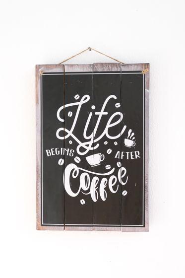 """Декоративная деревянная табличка """"Life begins after Coffee"""""""