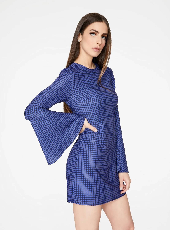 Blue Geometric Bell Sleeved Mini Dress