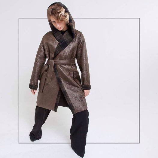 Двустороннее пальто с капюшоном  хаки/клетка #7