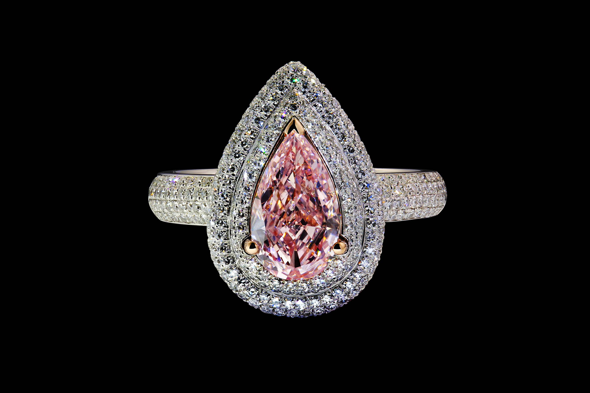 Vintage Style Pink Diamond Ring Top View